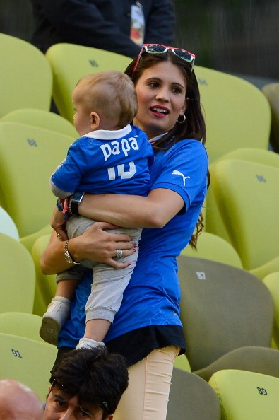 Cassano's wife and son at Spain V Italy game in Group C