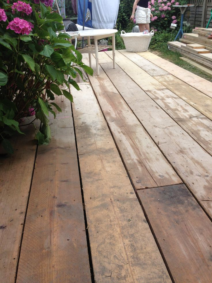 Scaffold board decking in our garden