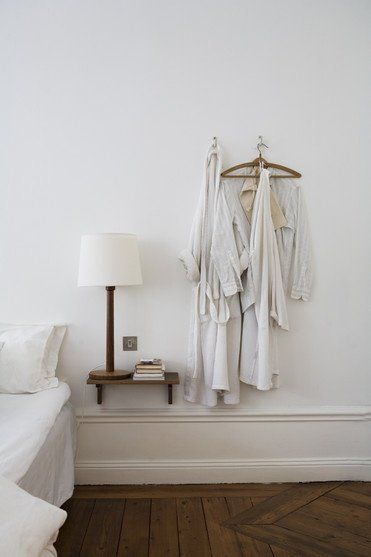 Design Dozen: 12 Clever Space-Saving Solutions for Small Bedrooms 5. Here's an idea for a nightstand that takes up even less space — a simple shelf beside the bed. ApartmentTherapy