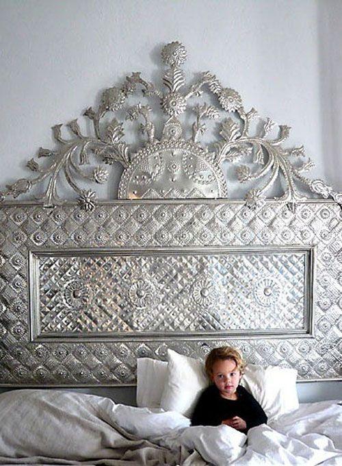 Bedroom - Pressed metal headboard - very unique!