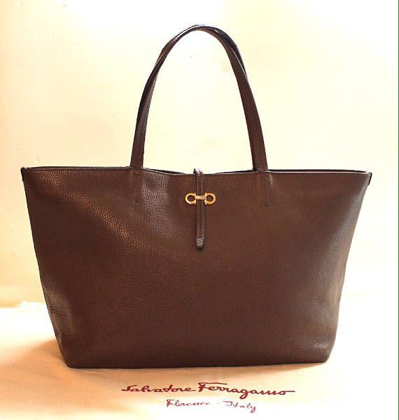 Authentic Salvatore Ferragamo Gancini Tote Leather Bag