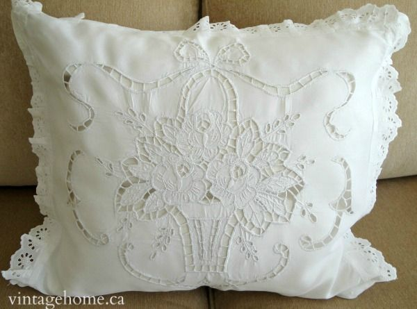 Antique white on white cutwork embroidery cushion cover, flower basket pattern ~ vintagehome.ca