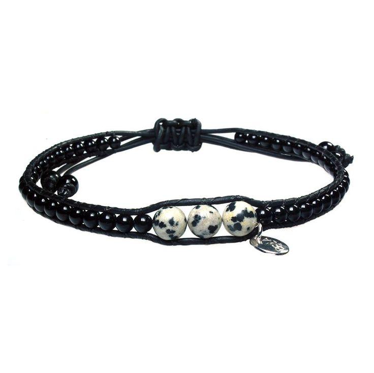 Anklet for men classic Bono - Dalmatian Jasper and Onyx