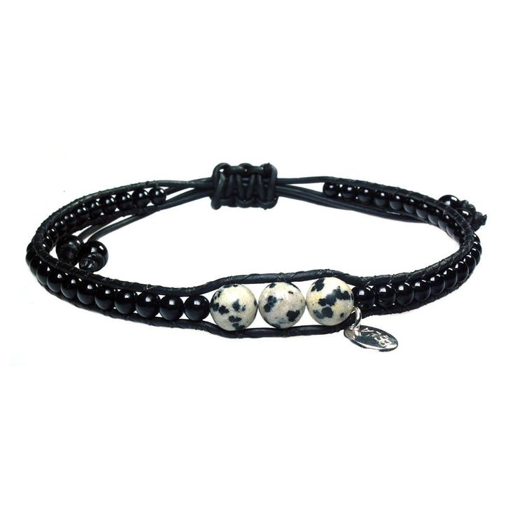 Anklet for men classic Bono - Dalmatian Jasper and Onyx