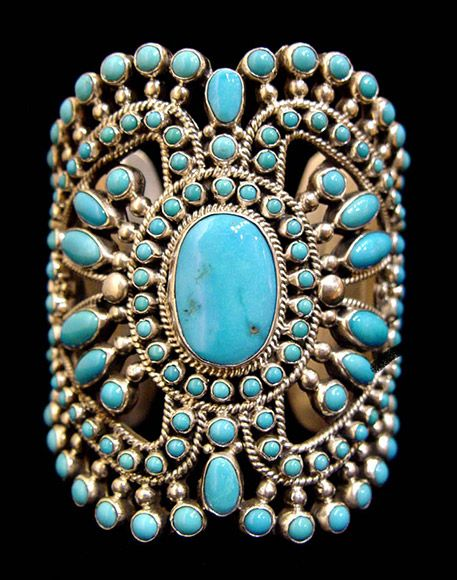 Alice Lister (Navajo) Filigree Sleeping Beauty Turquoise cuff, 3""