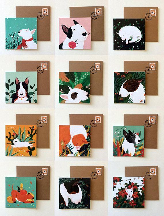 Bull Terrier card set of 12  Dog Greeting Card  Bullterrier