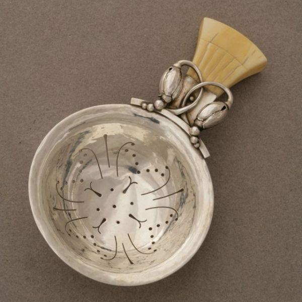 Gallery 925 - Georg Jensen Blossom Tea Strainer with Bone Handle, no. 84B, Handmade Sterling Silver