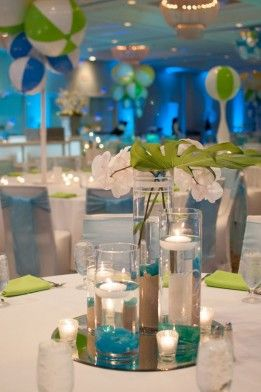 Blue, Green, and Yellow Beach Ball Themed Bat Mitzvah - The Celebration Society