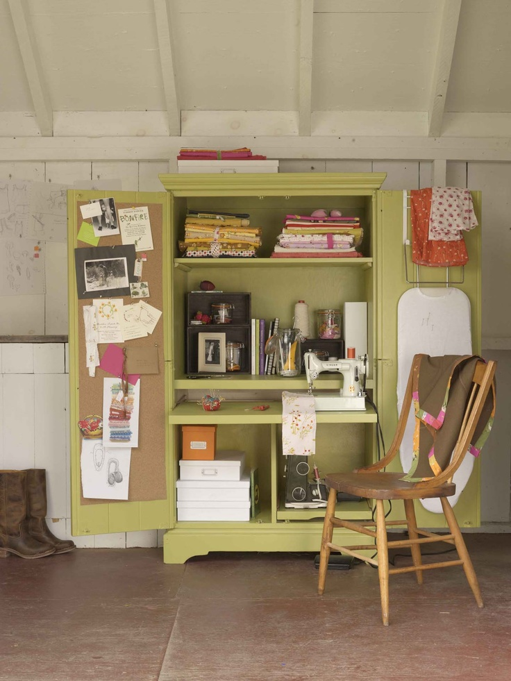 A second life for an old entertainment center....a sewing room in a cupboard.