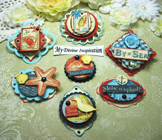 Graphic 45 By the Sea Handmade Paper Embellishments for Scrapbooking Layouts Cards Mini Albums Tags and Papercrafts