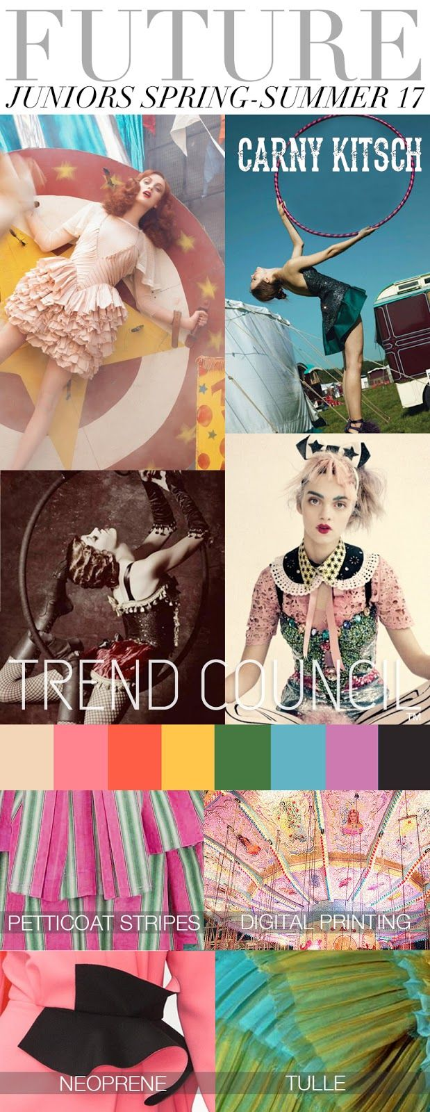 """SS17 Long Term Junior Trends feminize the post apocalyptic steam punk into a trend we are dubbing """"Carny Kitsch™"""". Burning Man's future art theme """"Carnival of Mirrors"""" will lock this in as one of the most important Junior Trends of the season."""