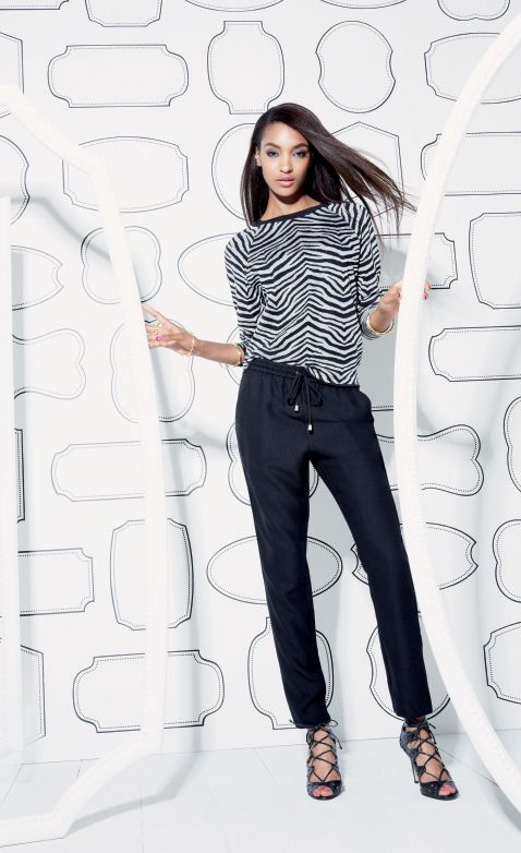On trend: Zebra sweater and track pants.