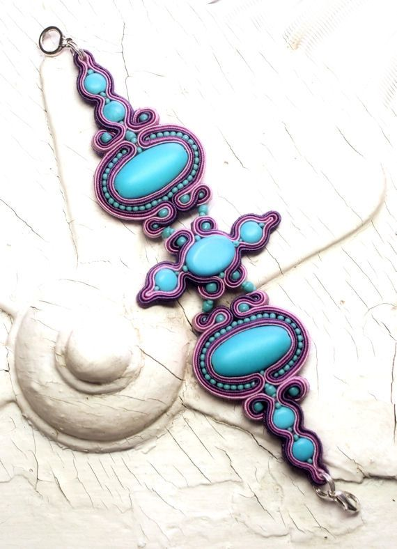 turquoise pink lavender and purple soutache by KimimilaArt
