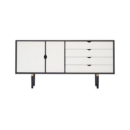 Andersen Furniture   S6 Sideboard, Eiche Schwarz Lackiert / Fronten Weiß  Weiß T:43
