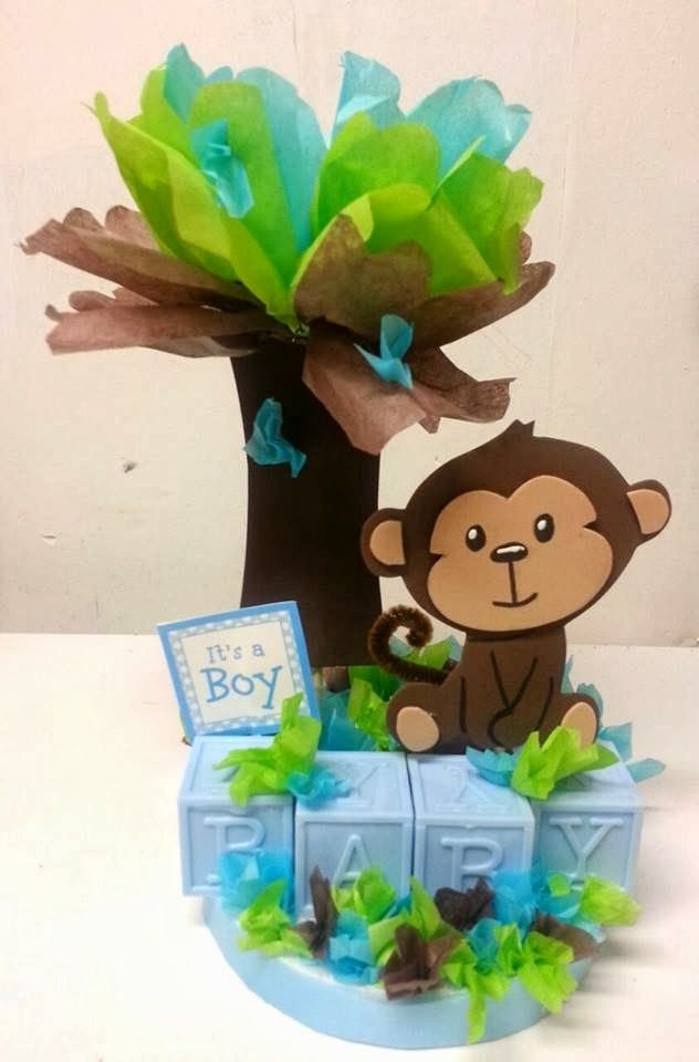 baby shower monkey centerpieces - Buscar con Google