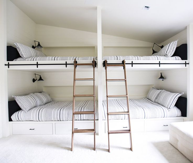 """When you think of """"bunk beds,"""" you fondly recall slumber parties, overnights at camp, or sharing a room with your sibling. While bunks are of course great options for little ones, they're also perfect for houseguests and make cozy reading nooks. Here, 19 bunk beds that we're currently dreaming of."""