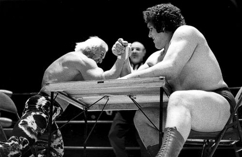 Superstar Billy Graham vs Andre The Giant in an arm wrestling match. Graham was a bad guy, Andre was the good guy, you know how this ends.