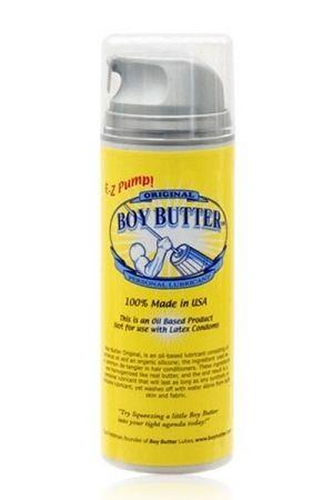 Lubrifiant Boy Butter Original 148 ml, à base d'huile végétale et de silicone, très glissant et longue durée. Idéal pour un fist en profondeur.