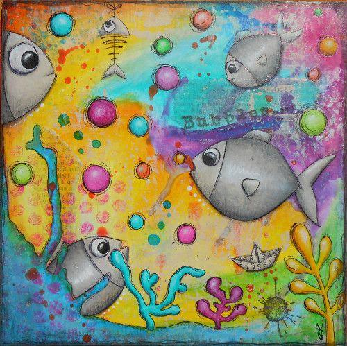 """""""Bubbles"""" Tableau original, mixed média Les petits poissons"""