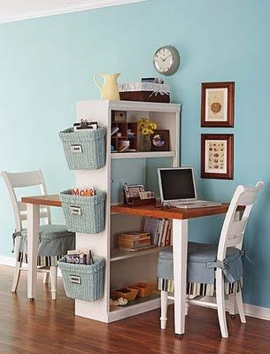 Cool idea for study space for the kiddos - one on each side.  We could easily repurpose bookshelves we already have - even doublign them, so they are the same.  Top shelf would probably have to be mostly decorative storage.  Baskets on end is a great idea!