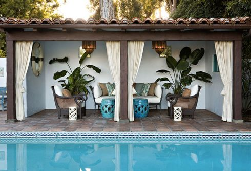 pool cabana   Love the look of this, furnishing don't need to be so symetrical