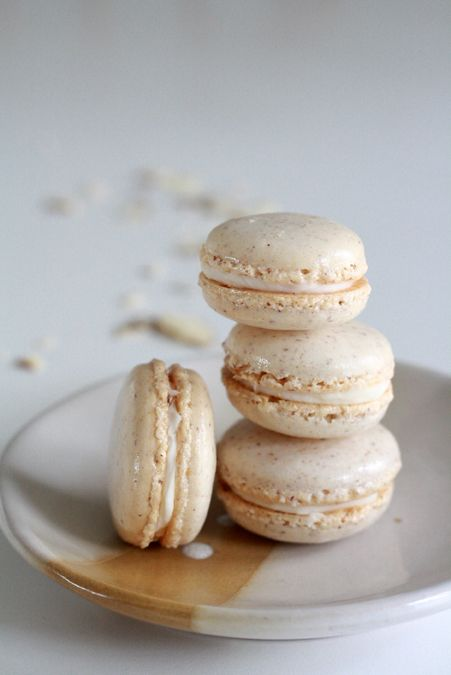 Almond macarons with almond buttercream, from heoyeahyum.com.    I just made macarons for the first time (and I had never even eaten one before).  I used an allrecipe.com recipe, but this blog looks great