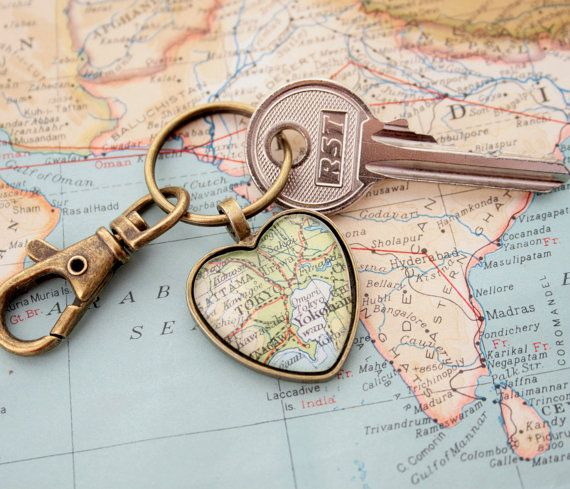 Long Distance Relationship Gift Map Personalised Keychains