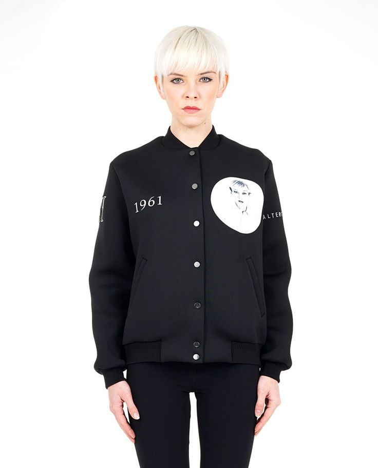 PORTS 1961 black lined bomber  neoprene  mandarin collar  long sleeves  two side pockets  front closure with silver buttons  87% PL 13% Spandex 81% CO 17.5% PA 1.5% Spandex  Lining: 93% SE 7% Spandex