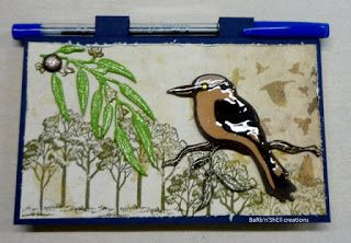 BaRb'n'ShEll Creations-covered post it notes-Australiana-kookaburra-BaRb