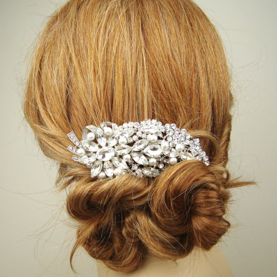 Vintage Inspired Bridal Hair Comb Rhinestone Wedding by luxedeluxe, $78.00