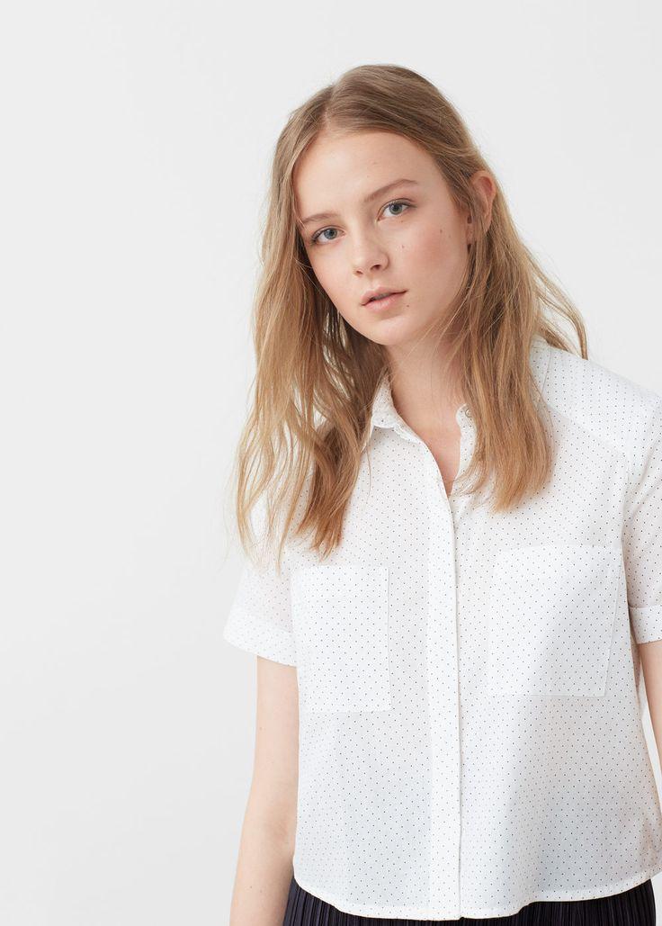 Prikkete skjorte i bomull - Skjorter for Damer | MANGO Norge