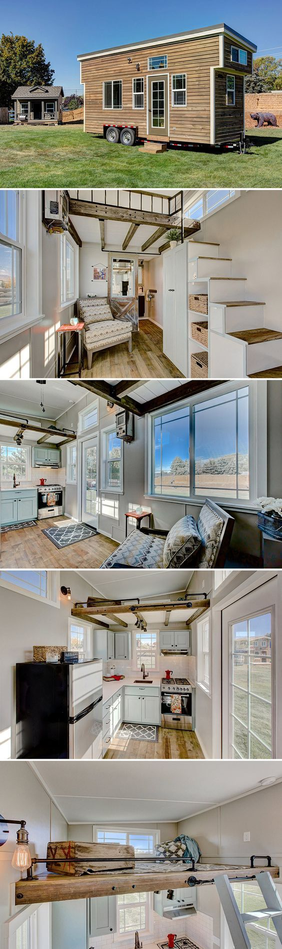 """This 22' custom tiny house on wheels features 5"""" hickory hardwood flooring, two bedroom lofts, and detailed woodwork including a distressed barn door."""