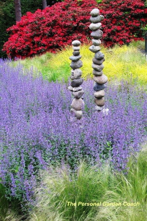 Mass plantings & stacked stone sculpture~~ at the Entrance at the Bellevue