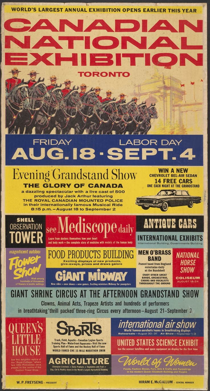 Canadian National Exhibition Poster, Toronto, 1960s