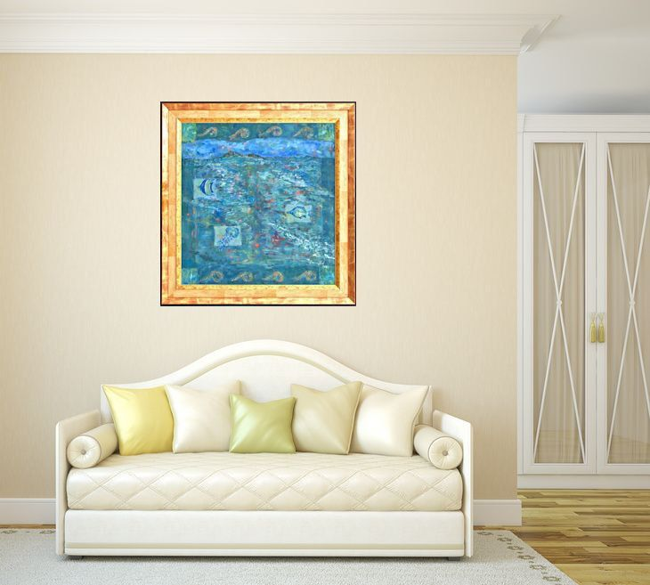 """Abstract print, blue green giclee print on canvas, Marilion Fine Art, """"CORAL FISH"""" by MarilionFineArt on Etsy"""