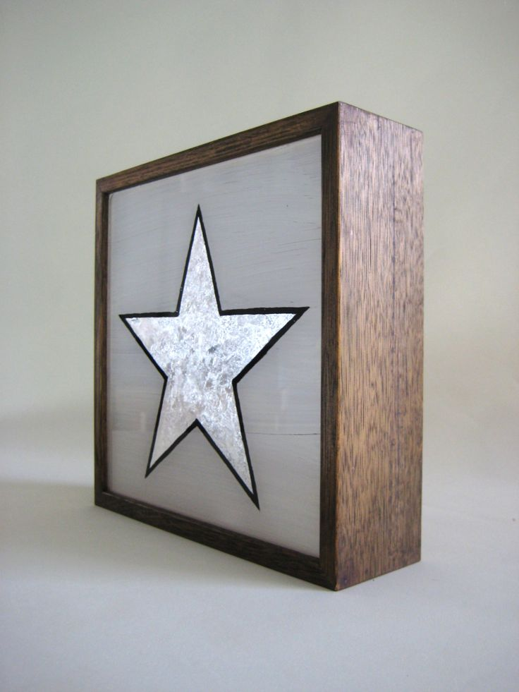 silver leaf star vintage wooden lightbox hand painted sign silver leaf illuminated sign light - Painted Wood Cafe Decoration