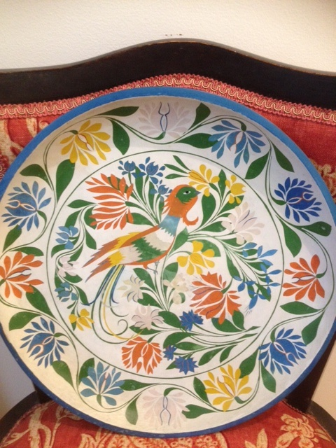 Handpainted large wooden platter