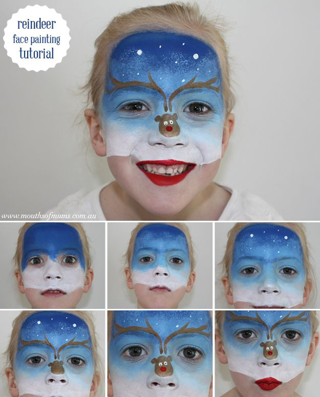 Reindeer face paint - A fantastic reindeer face paint tutorial for the kids this christmas! Plus – it's so much easier then it looks – see how by clicking through to mouthsofmums.com.au