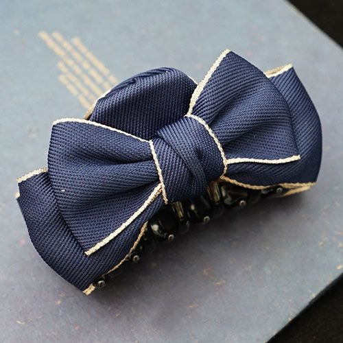 Cotton Silver Edge Ribbon Bow Hair Claw For Women