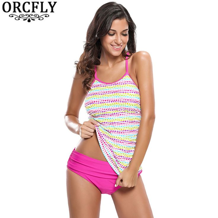 ORCFLY Sexy Swimwear Girl Two Piece Plus Size Bathing Suit 2017 Bikini Meisje Colorful Polka Dot Rosy Tankini Swimsuit LC410020