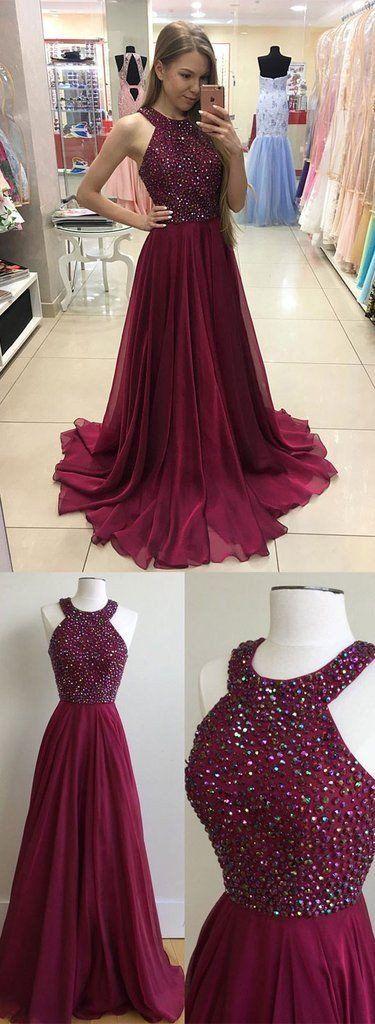 burgundy halter long prom dreses beaded party dresses – BBtrending