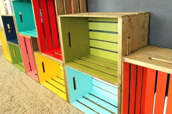 Colorful crate shelves.