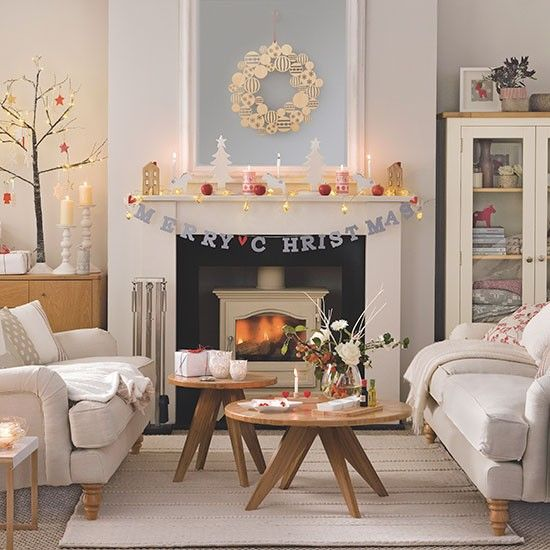 Cream Christmas Living Room Living Room Decorating Ideal Home