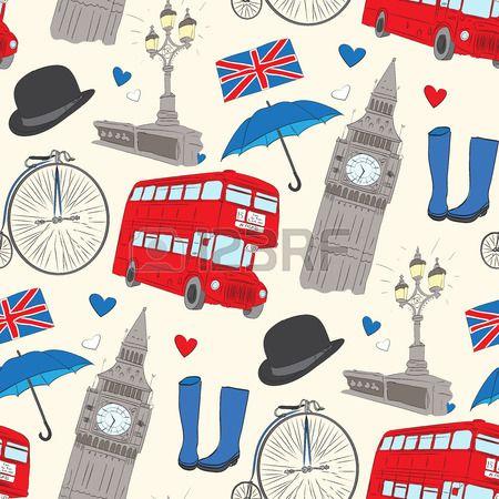 Вектор рисованной Лондон рисунок с элементами Биг Бен часы, флаг Великобритании, полицейский шлем, красный автобус, зонтик, сапоги, уличный свет