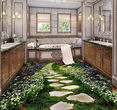 I CAN TOTALLY SEE THIS IN MY BATHROOM!!!! Large 3D Wall Stickers Flower Glass Road Landscape Wall mural Floor Decals