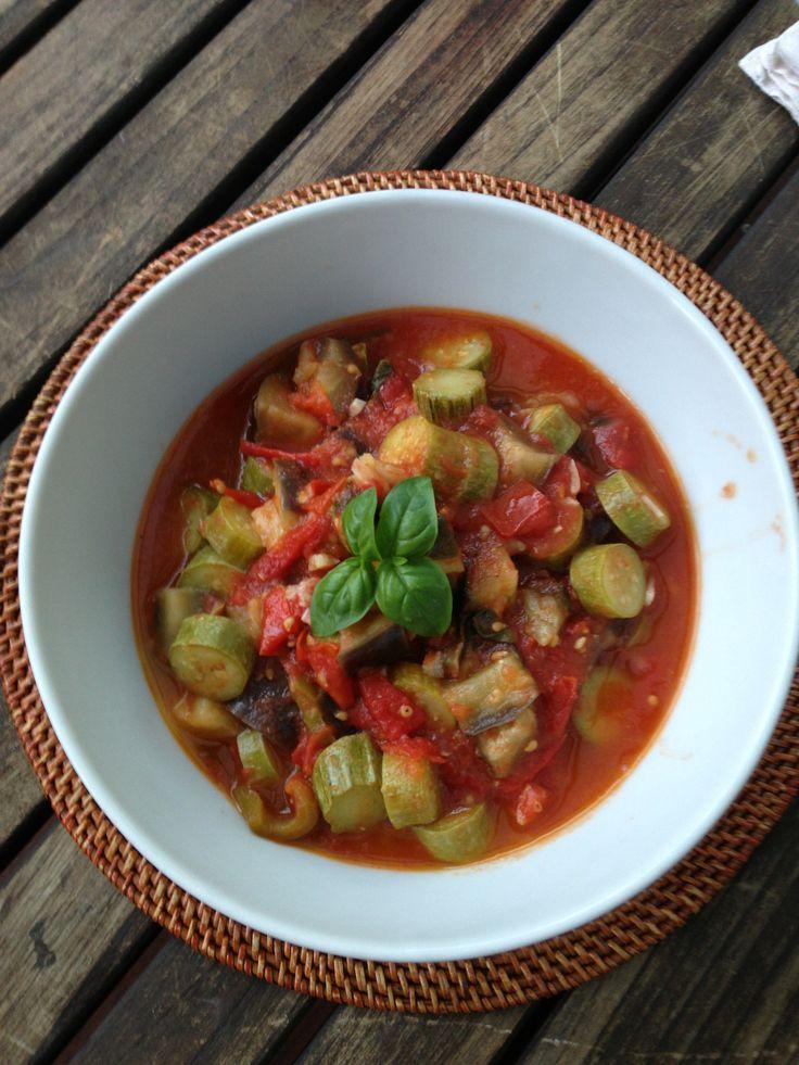 Homegrown veggies make a delicious Ratatouille! #veggies #vegetables #vegetarian #vegetablegardening #homegrown #homecooking #ratatouille
