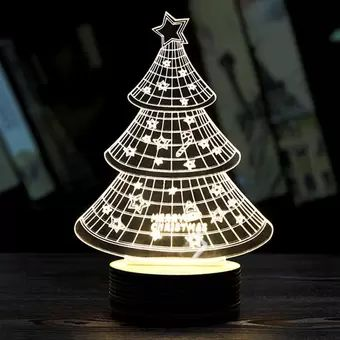 Buy Hang-Qiao 3D Wood Acrylic LED Bulbing Xmas Tree Shape Night Table  Lamp White online at Lazada. Discount prices and promotional sale on all. Free Shipping.