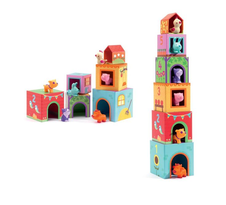 This cute and colourful collection of stacking cubes includes six different animal homes with animal figurines. Suitable for children aged 18 months and over.