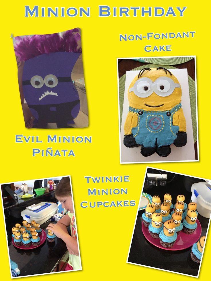 Homemade Minion Birthday  Evil Minion Piñata Minion Twinkie Cupcakes Non-fondant Minion Cake