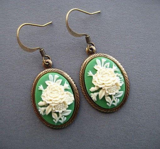 Cameo Earrings  Victorian Earrings  Cameo by SilverTrumpetJewelry